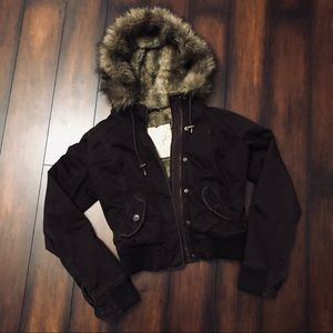 Abercrombie & Fitch Classic Fur Hood Bomber Jacket